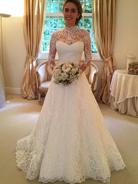 Ball Gown Long Sleeves Lace High Neck Court Train Wedding Dresses
