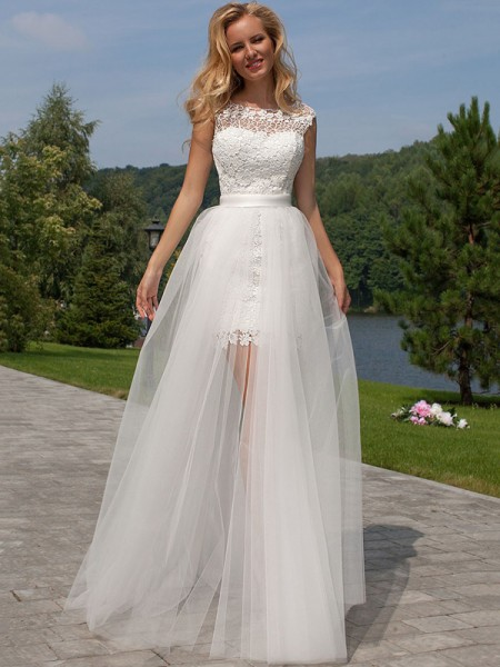 Sheath/Column Tulle Lace Sleeveless Floor-Length Wedding Dresses