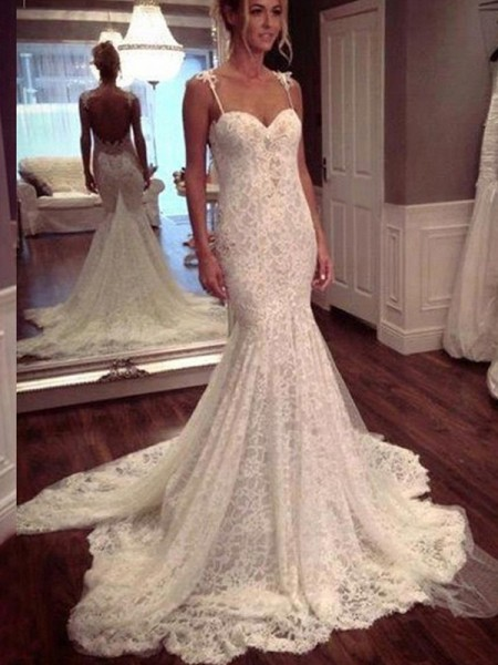 Trumpet/Mermaid Lace Sleeveless Court Train Lace Wedding Dresses