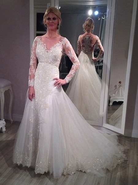 A-Line/Princess Tulle Long Sleeves Sequin Sweep/Brush Train Wedding Dresses