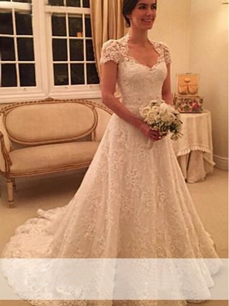 A-Line/Princess Lace Court Train Short Sleeves Wedding Dresses