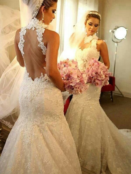 Trumpet/Mermaid Lace Court Train Sleeveless Wedding Dresses