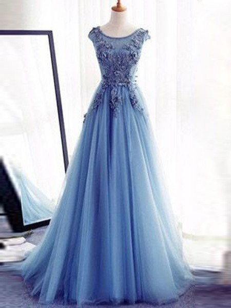 Ball Gown Tulle Sleeveless Applique Sweep Train Dresses