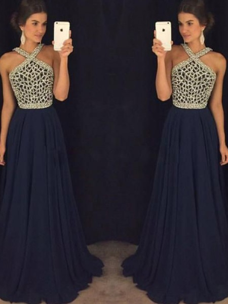 A-Line/Princess Chiffon Floor-Length Beading Sleeveless Dresses