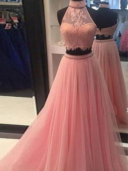 A-Line/Princess Tulle Lace Sleeveless Floor-Length Dresses