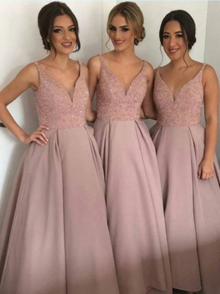 A-Line/Princess Taffeta Beading Floor-Length Sleeveless Bridesmaid Dresses