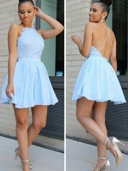 A-Line/Princess Chiffon Lace Short/Mini Sleeveless Dresses