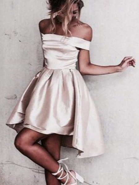 A-Line/Princess Satin Short/Mini Sleeveless Dresses