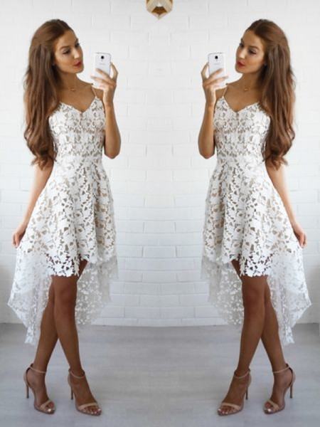 A-Line/Princess Lace Sleeveless Short/Mini Dresses