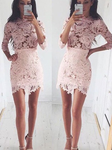 A-Line/Princess Lace Short/Mini 1/2 Sleeves Dresses