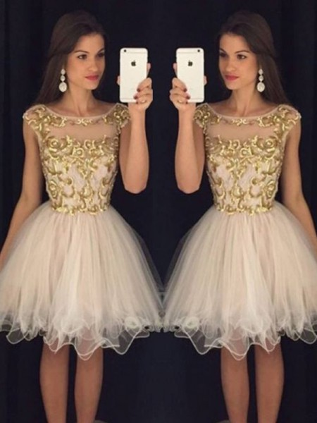 A-Line/Princess Tulle Sleeveless Paillette Short/Mini Dresses
