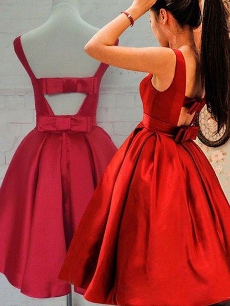 A-Line/Princess Satin Sleeveless Sash/Ribbon/Belt Short/Mini Dresses