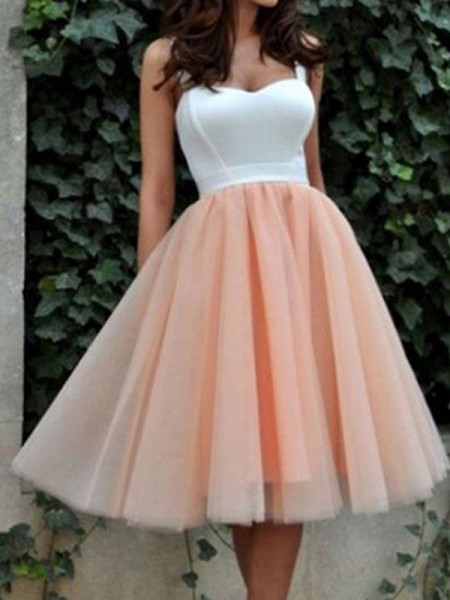 A-Line/Princess Tulle Sleeveless Dresses