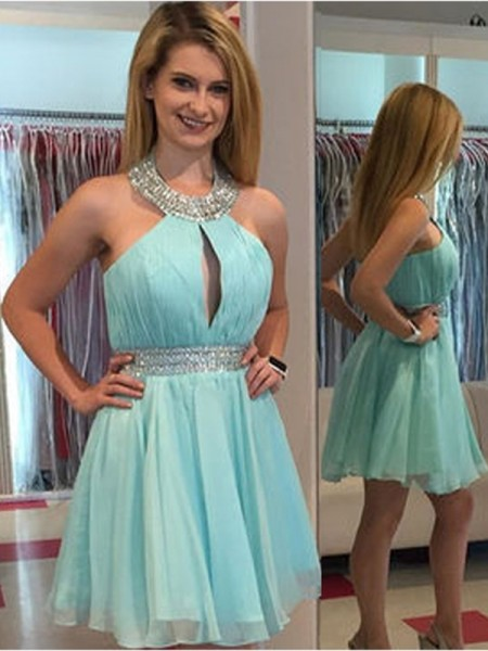 A-Line/Princess Chiffon Sleeveless Short/Mini Beading Dresses