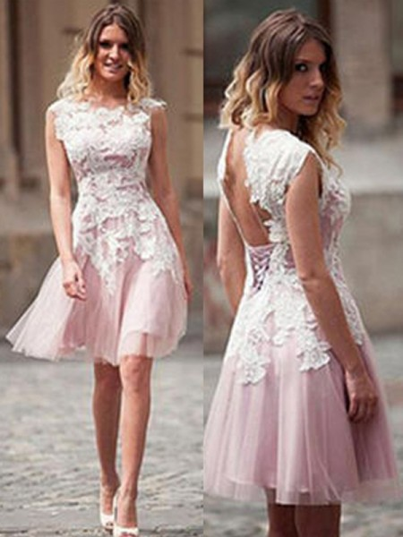 A-Line/Princess Tulle Sleeveless Applique Short/Mini Dresses
