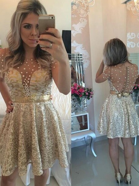 A-Line/Princess Satin Short/Mini Sequin Sleeveless Dresses