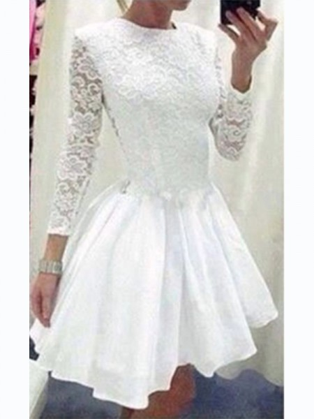 A-Line/Princess Chiffon Lace Short/Mini Long Sleeves Dresses