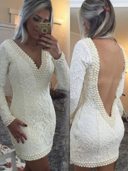 A-Line/Princess Lace Long Sleeves Pearls Short/Mini Dresses