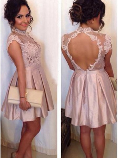 A-Line/Princess Satin Lace Sleeveless Dresses