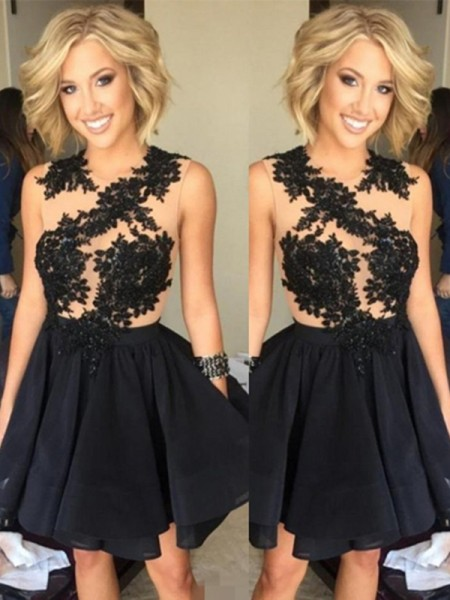 A-Line/Princess Chiffon Lace Sleeveless Short/Mini Dresses