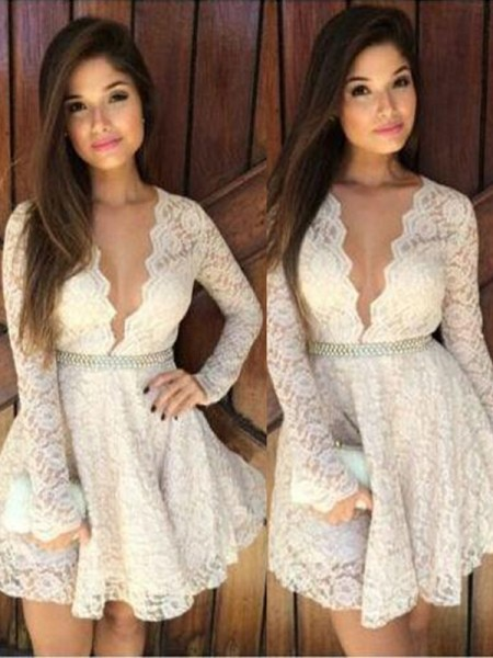 A-Line/Princess Lace Long Sleeves Short/Mini Dresses