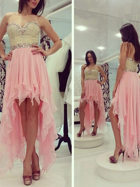 A-Line/Princess Chiffon Sleeveless Beading Asymmetrical Dresses