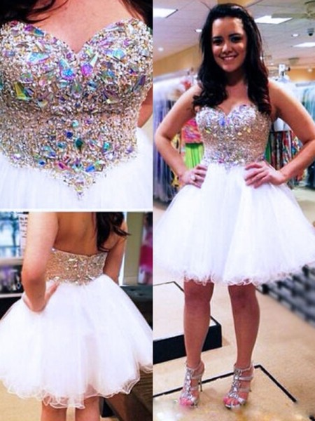 A-Line/Princess Tulle Beading Sleeveless Short/Mini Dresses