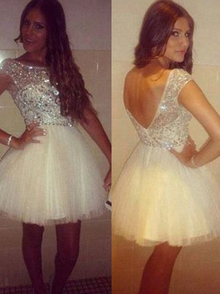 A-Line/Princess Tulle Beading Short/Mini Sleeveless Dresses