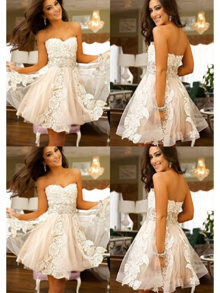 A-Line/Princess Tulle Applique Sleeveless Short/Mini Dresses
