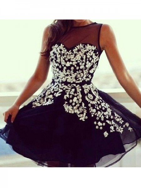 A-Line/Princess Tulle Applique Short/Mini Sleeveless Dresses