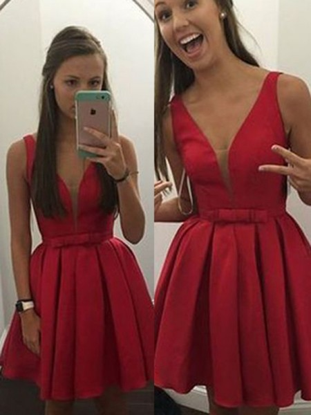 A-Line/Princess Satin Sleeveless Short/Mini Bowknot Dresses