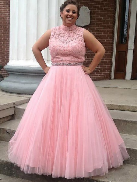 Ball Gown Tulle Applique Sleeveless Floor-Length Plus Size Dresses