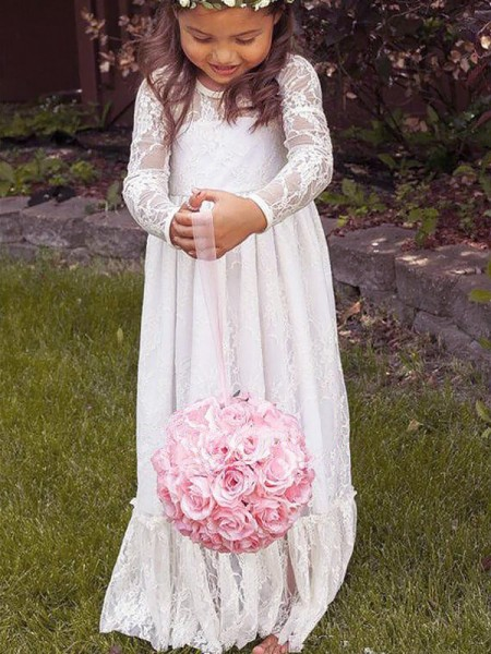 A-Line/Princess Lace Jewel Long Sleeves Bowknot Floor-Length Flower Girl Dresses