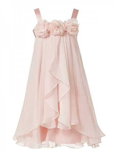 A-Line/Princess Chiffon Straps Sleeveless Hand-Made Flower Ankle-Length Flower Girl Dresses