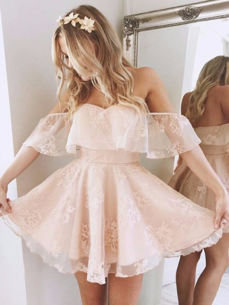 A-Line/Princess Lace Off-the-Shoulder Sleeveless Short/Mini Dresses