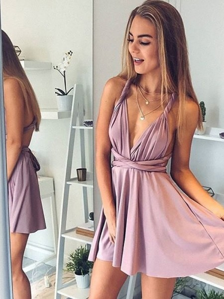 A-Line/Princess Silk like Satin V-neck Sleeveless Short/Mini Dresses