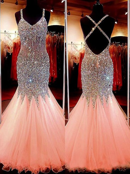 Trumpet/Mermaid Sequin Sleeveless Tulle Floor-Length V-neck Dresses