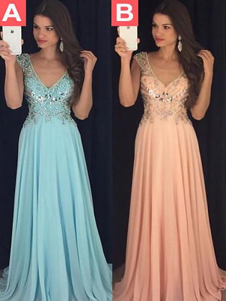 A-Line/Princess Chiffon Paillette Sleeveless V-neck Floor-Length Dresses