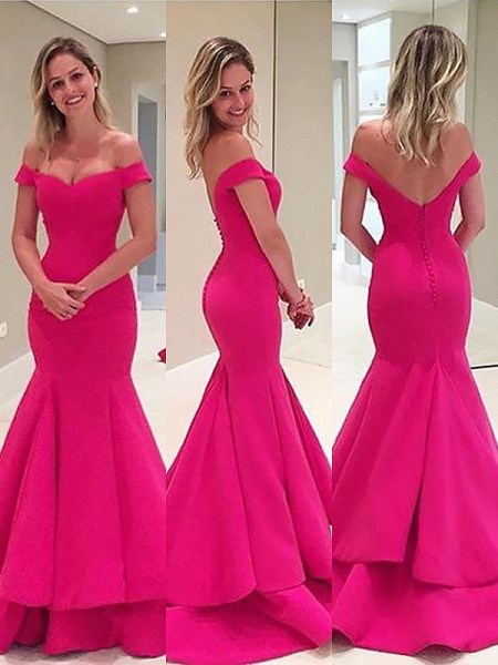 Trumpet/Mermaid Sleeveless Satin Layers Off-the-Shoulder Sweep/Brush Train Dresses