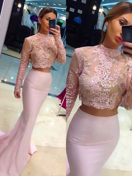 Sheath/Column Sweep/Brush Train High Neck Long Sleeves Lace Satin Two Piece Dresses