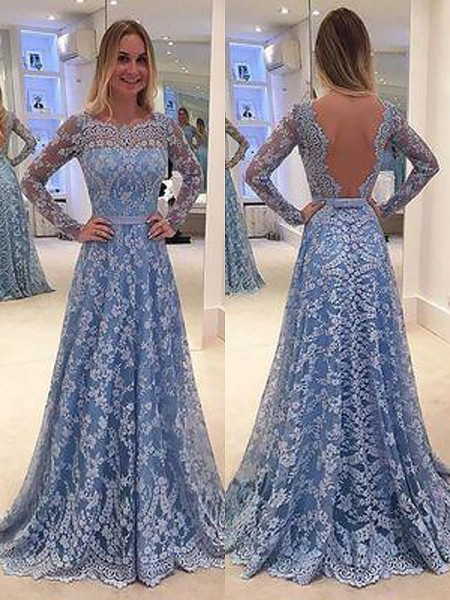 A-Line/Princess Bateau Ruffles Long Sleeves Lace Floor Length Dresses
