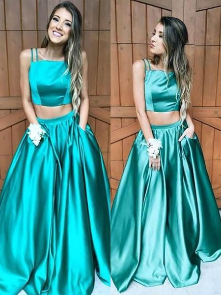 A-Line/Princess Square Floor-Length Sleeveless Ruffles Satin Two Piece Dresses