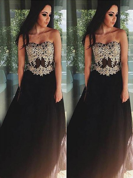 A-Line/Princess Tulle Applique Sleeveless Sweetheart Floor-Length Dresses