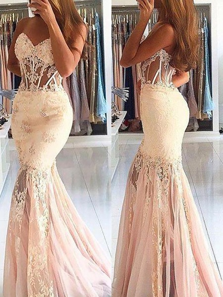 Trumpet/Mermaid Sweep/Brush Train Sleeveless Sweetheart Tulle Lace Dresses