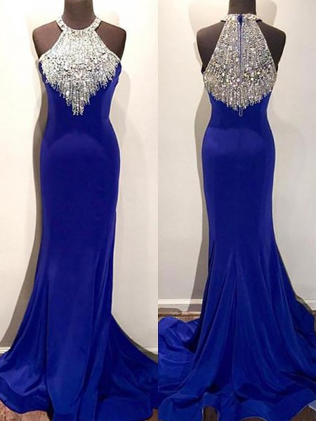 Trumpet/Mermaid Sleeveless Sweep/Brush Train Halter Beading Spandex Dresses