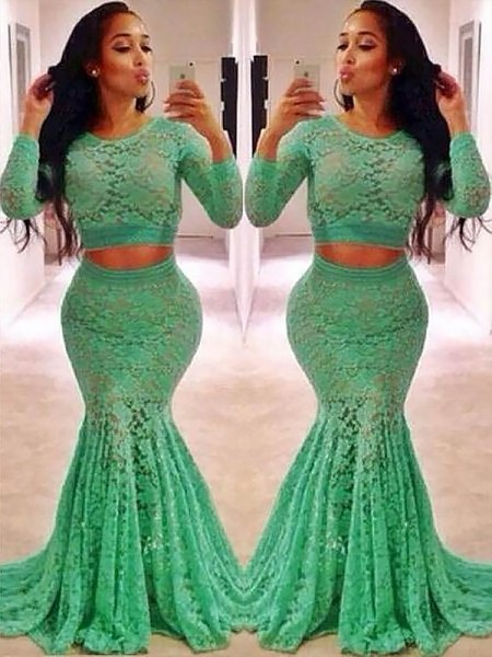Trumpet/Mermaid Scoop Ruffles Sweep/Brush Train Two Piece Long Sleeves Lace Dresses