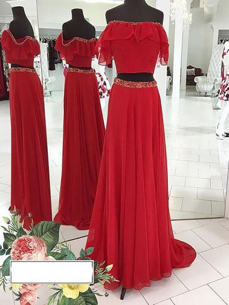A-Line/Princess Off-the-Shoulder Chiffon Sleeveless Beading Two Piece Floor-Length Dresses