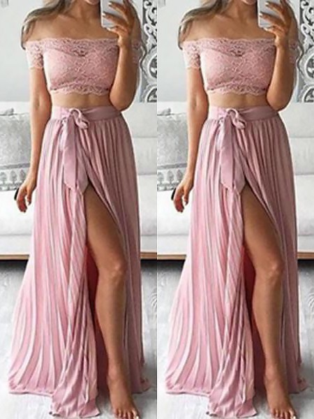 A-Line/Princess Sleeveless Chiffon Floor-Length Lace Off-the-Shoulder Two Piece Dresses
