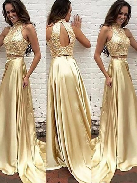 A-Line/Princess Satin Sweep/Brush Train Beading High Neck Sleeveless Two Piece Dresses