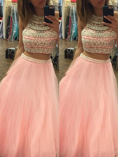 A-Line/Princess Halter Sleeveless Tulle Two Piece Floor-Length Beading Dresses